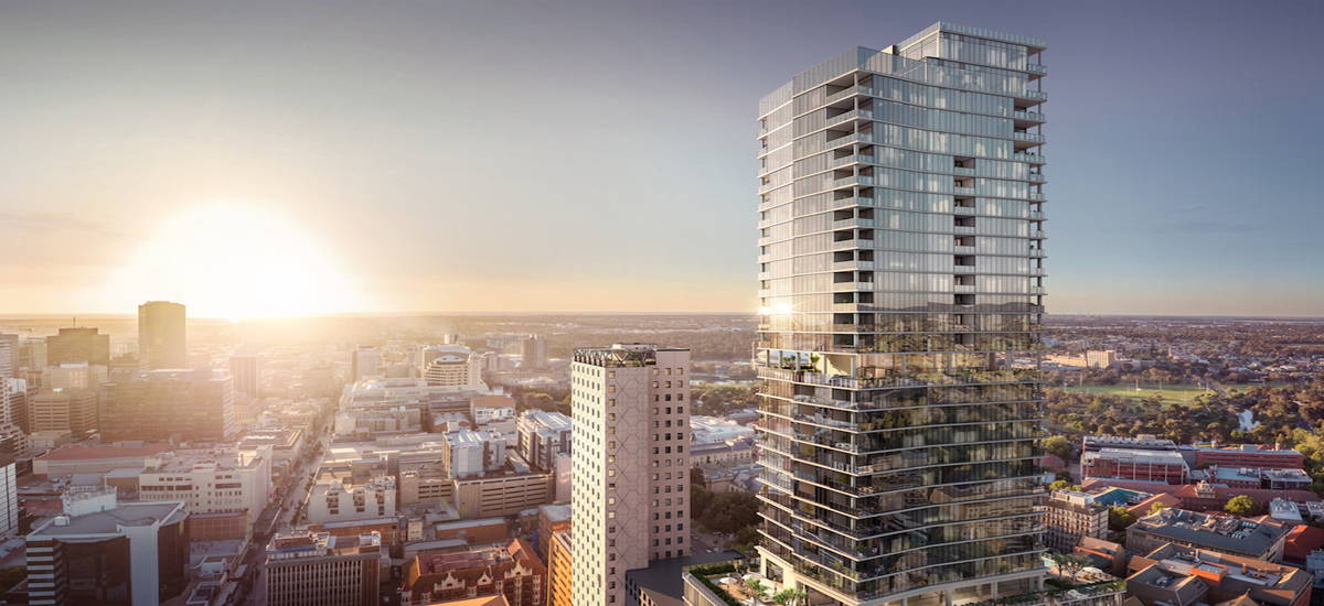 off the plan apartment for sale Adelaidean building exterior