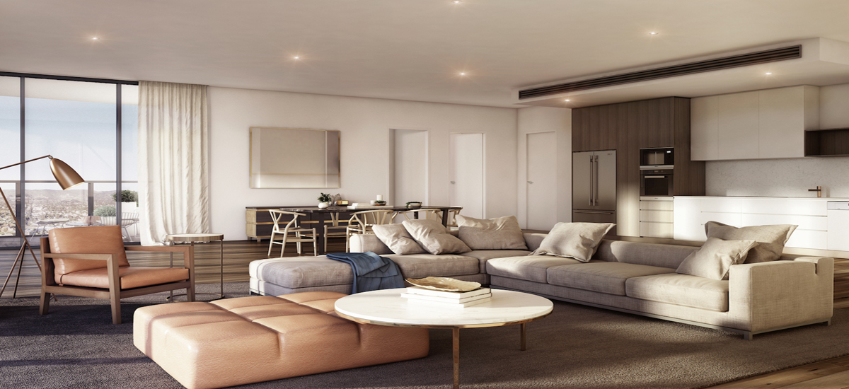 off the plan apartment for sale Adelaidean living and dining room