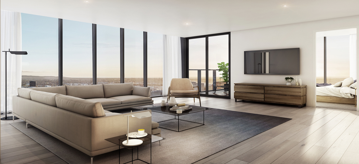 off the plan apartment for sale Adelaidean living room