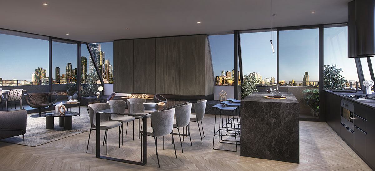 off plan apartment for sale Alchemy North Melbourne living and dining room with natural black marble