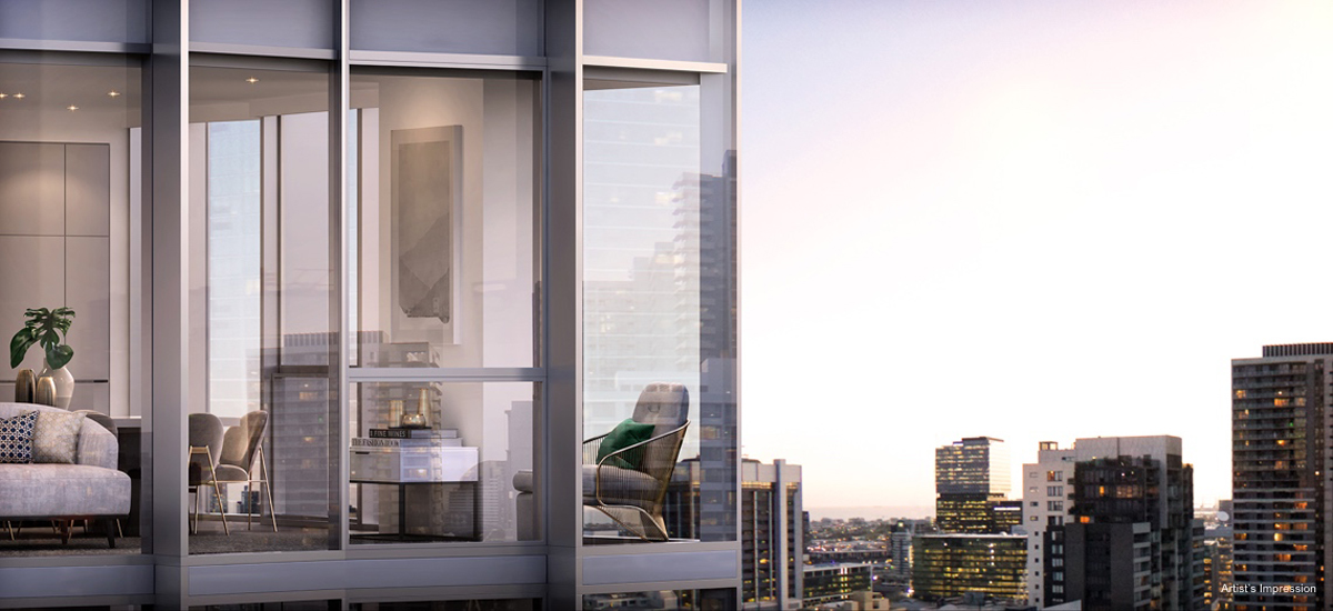 off the plan apartment for sale Amber Melbourne facade sky view