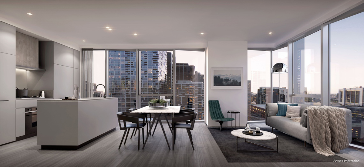 off the plan apartment for sale Amber Melbourne living and dining room