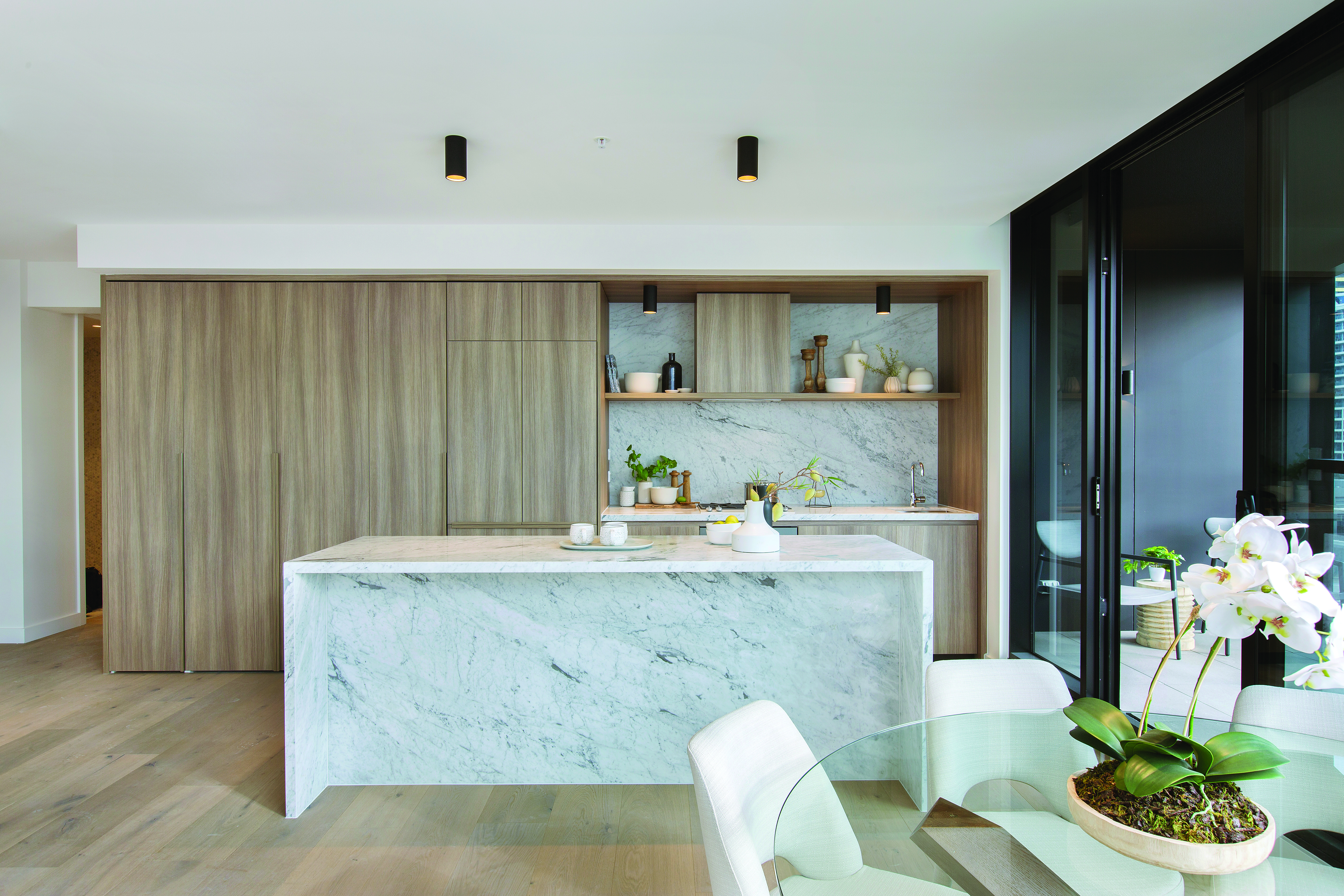661 Chapel street penthouse Melbourne Apartments and developments kitchen marble island timber balcony terrace