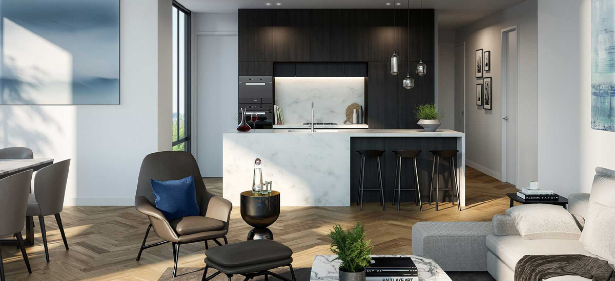 off the plan apartment for sale Bohem kitchen and dining room