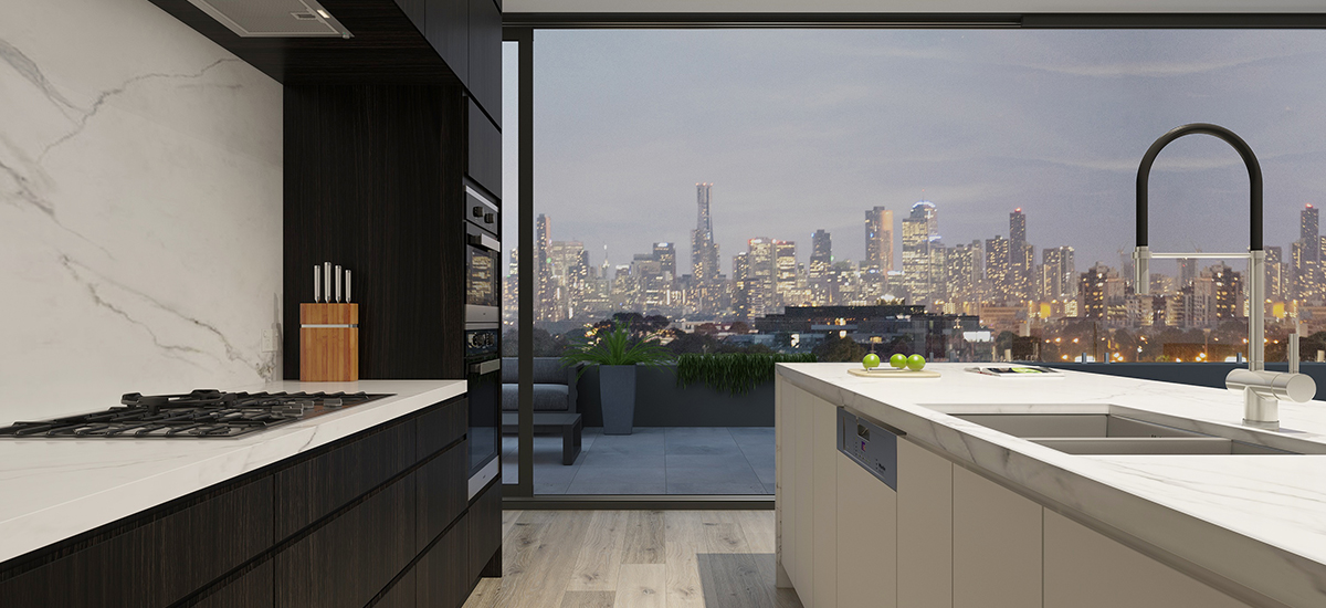 off the plan apartment for sale Dublin Strathmore kitchen with view
