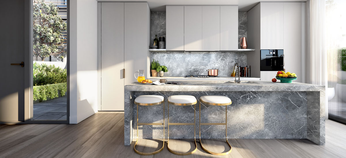 off the plan apartment for sale Elision kitchen dark