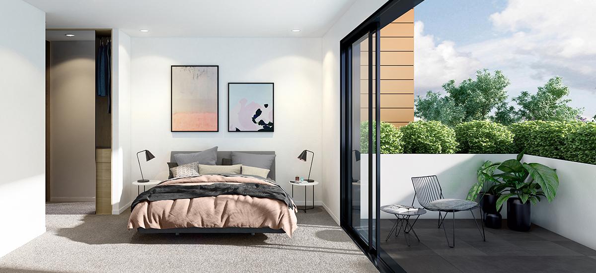 Ella Apartments in Carnegie bedroom
