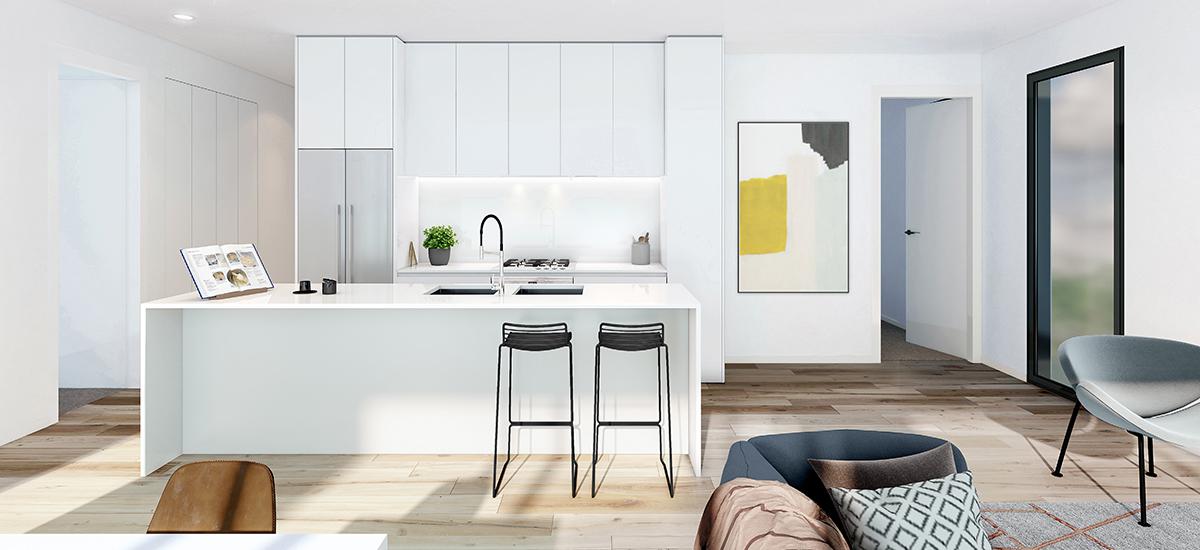 Ella Apartments in Carnegie kitchen