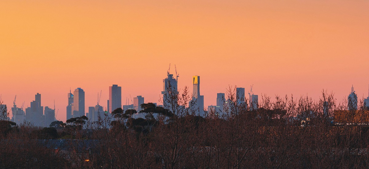 Melbourne sunset city skyline.