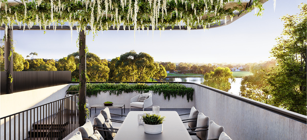 Balcony dining at Elwood park apartments