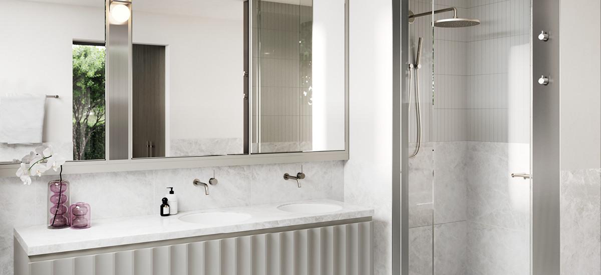 Bathroom at Elwood Park apartments