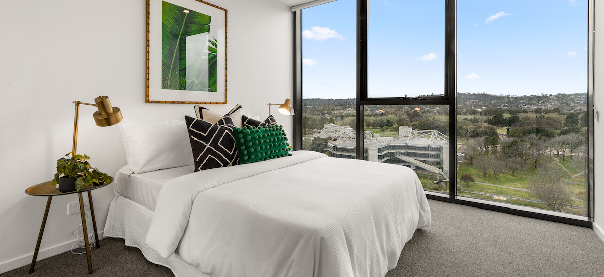 Grand Central Towers apartments bedroom with view