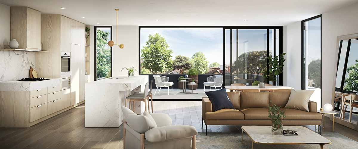 off plan apartment for sale Hedgeley House living room and balcony in Glen Iris