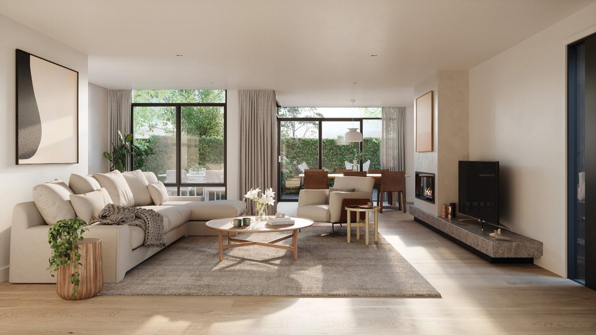 Kew Reserve apartments living room.