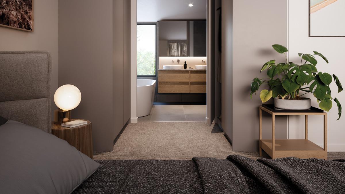 Kew Reserve townhouse master bedroom