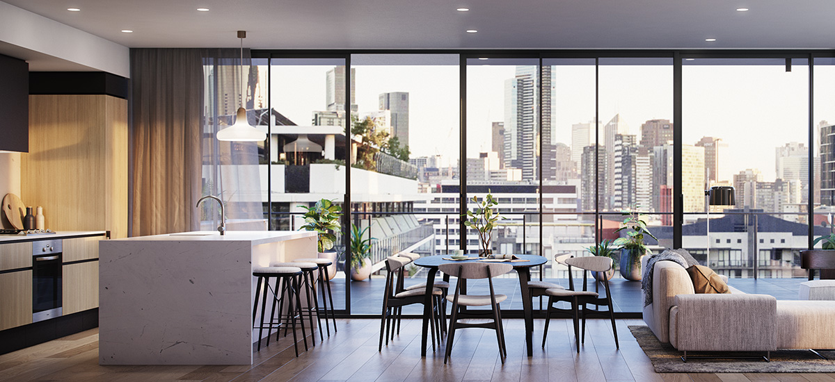 off the plan apartment for sale Linden House dining and kitchen