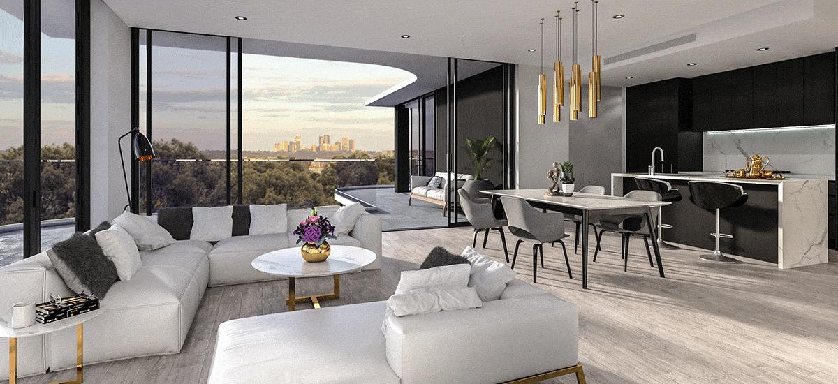 Monika Macquarie Park living room and dining room