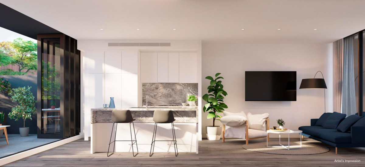 off plan apartment for sale Mont Albert Place apartment kitchen and dining room in Victoria