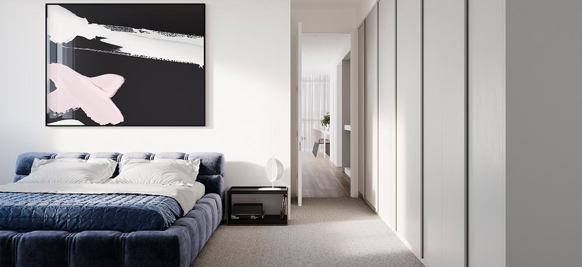Bedroom at One Como Malvern apartment