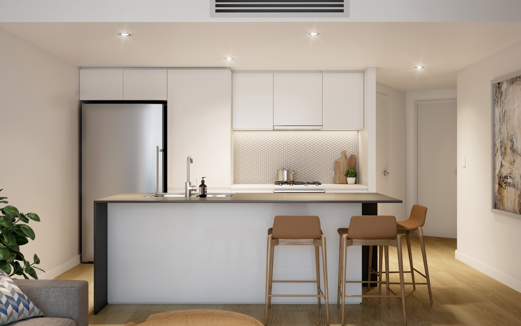 Park Central One apartment elegant kitchen with wooden floor in Woolloongabba Queensland