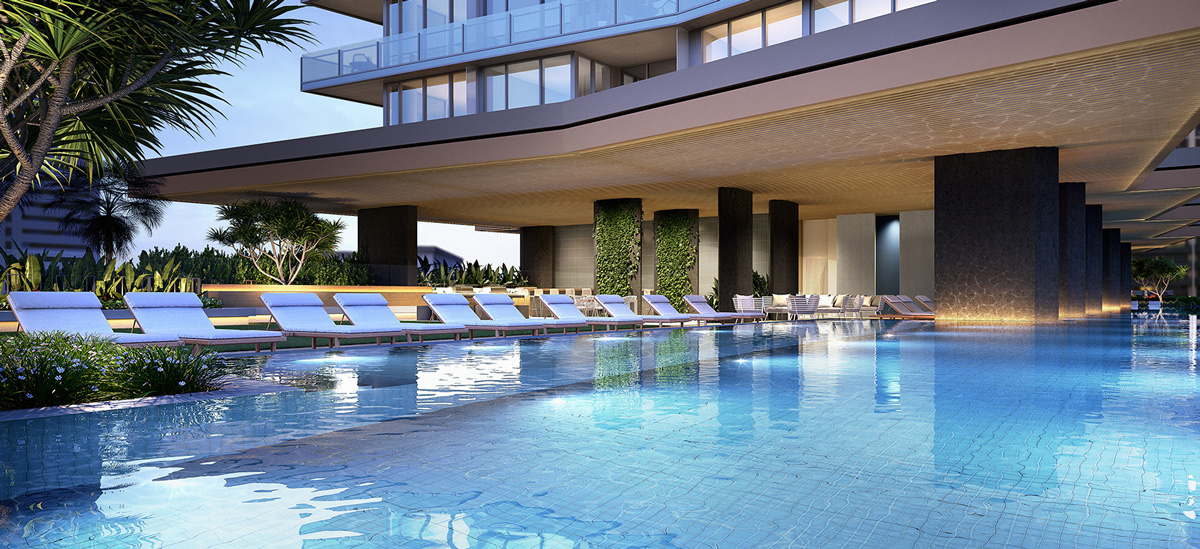 off plan apartment for sale Signature Broadbeach swimming pool in Queensland
