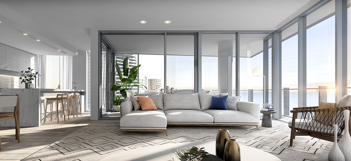off plan apartment for sale Signature Broadbeach living room in Queensland