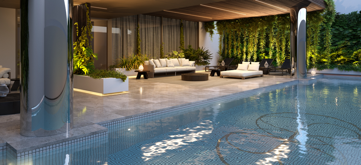the evermore luxury off the plan apartment wellness amenity swimming pool sunlounge