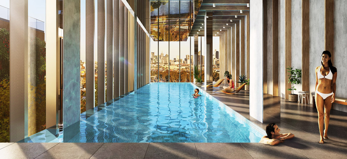luxury pool at Victoria Square Apartments