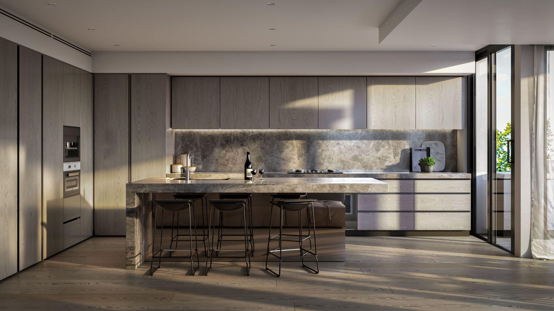 modern kitchen at 40 Adams Street apartments