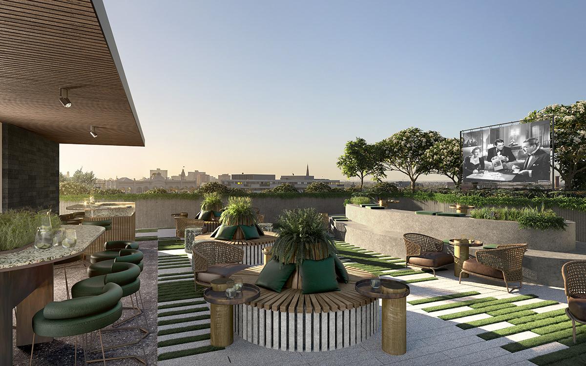 apartment development off the plan 88 Cambridge street rooftop cinema terrace