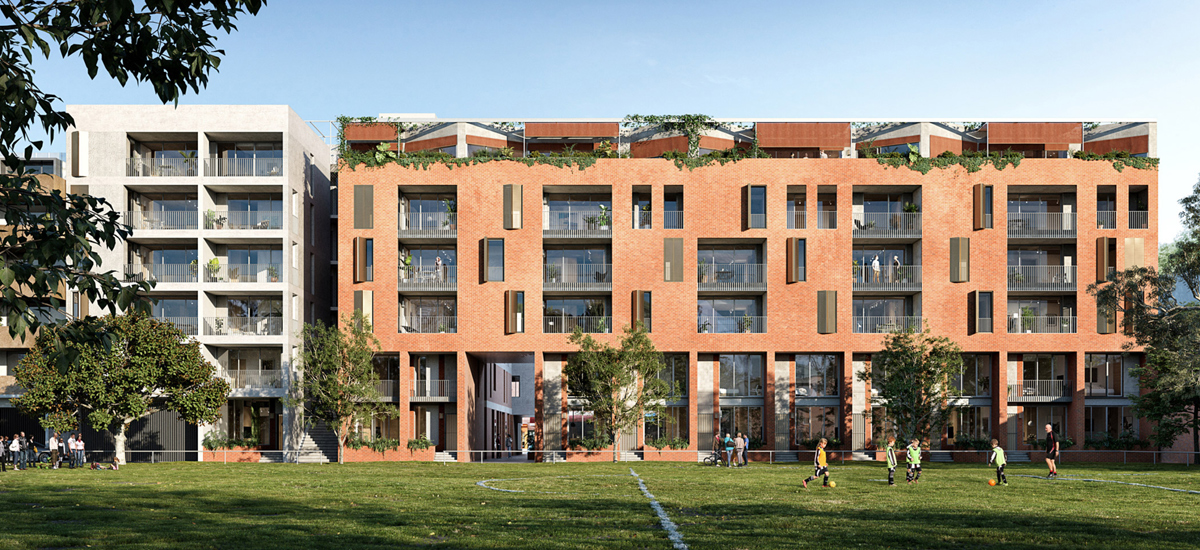 Balfe Park Lane exterior shot with park in view