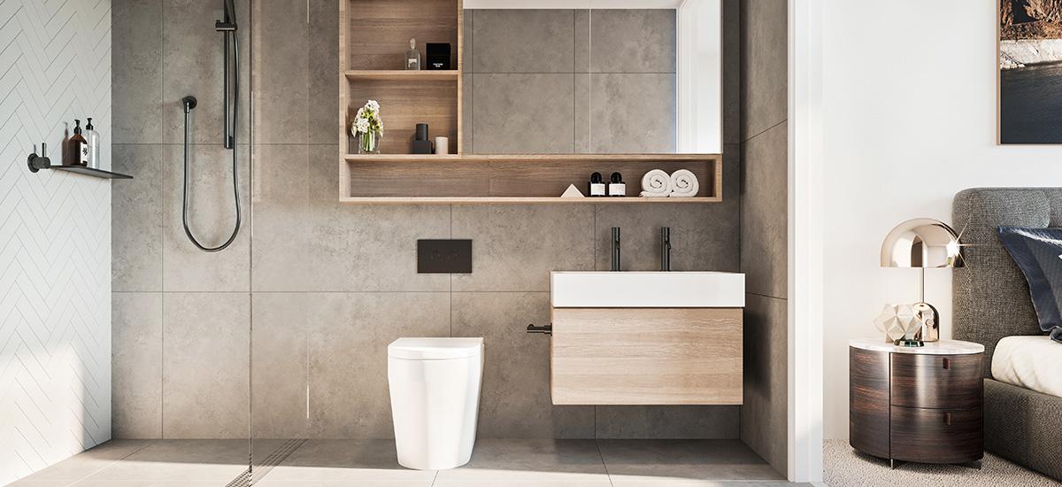 Bathroom at Bloom apartments