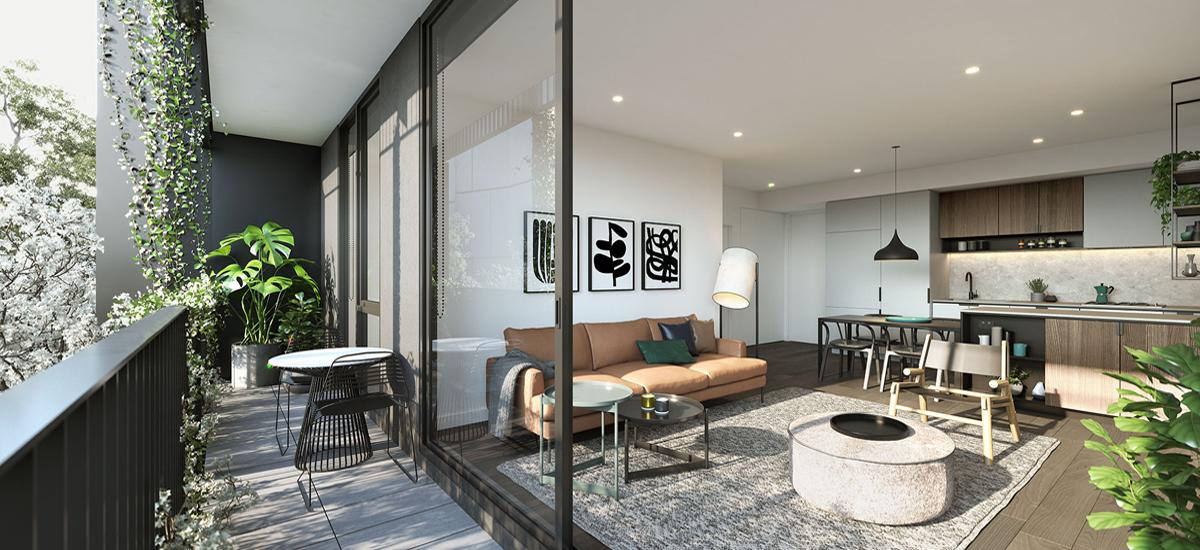 Burwood Brickworks balcony and living area