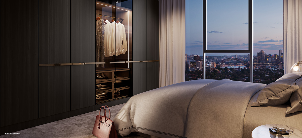 eighty eight apartments luxury bedroom wardrobe view