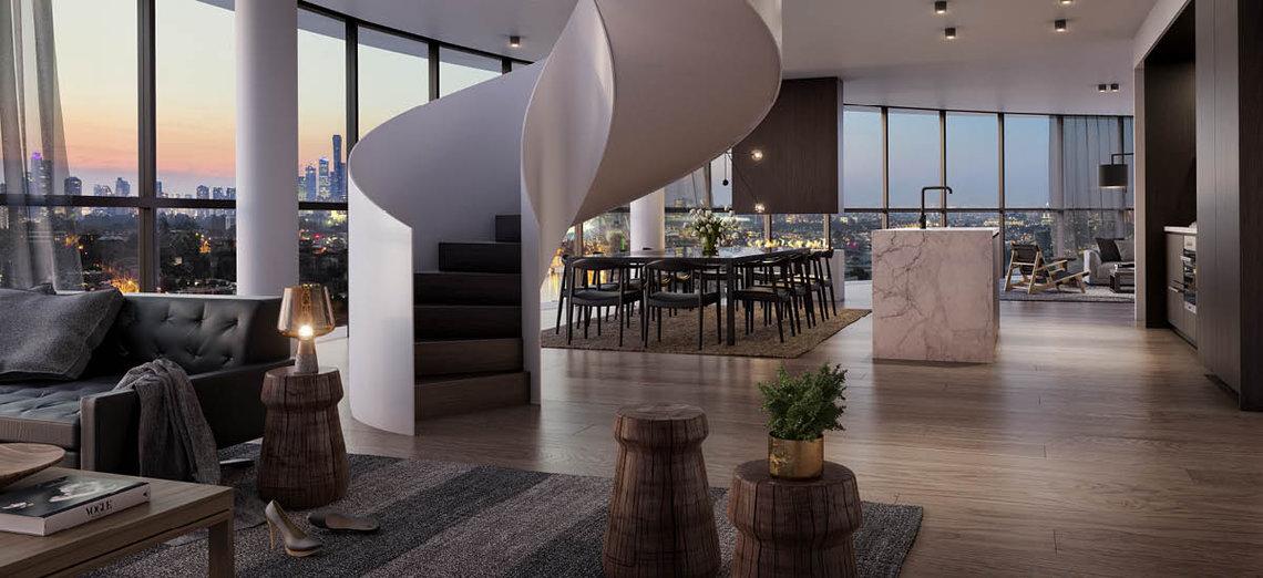 Living room at 661 Chapel Street Apartments