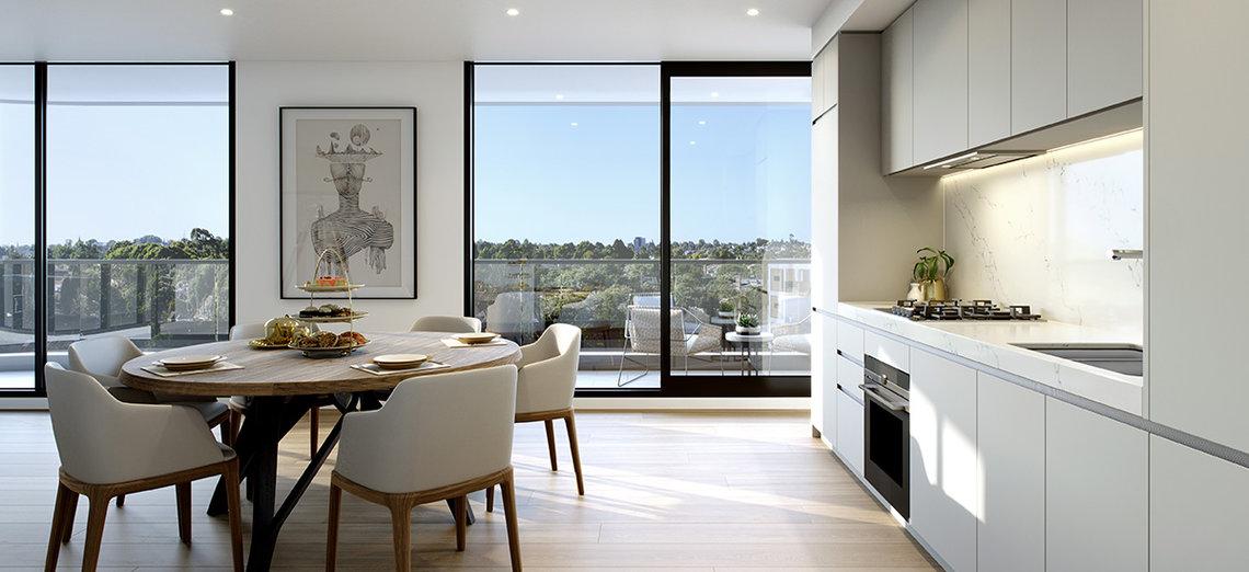 Kitchen at Sierra Hawthorn Apartments