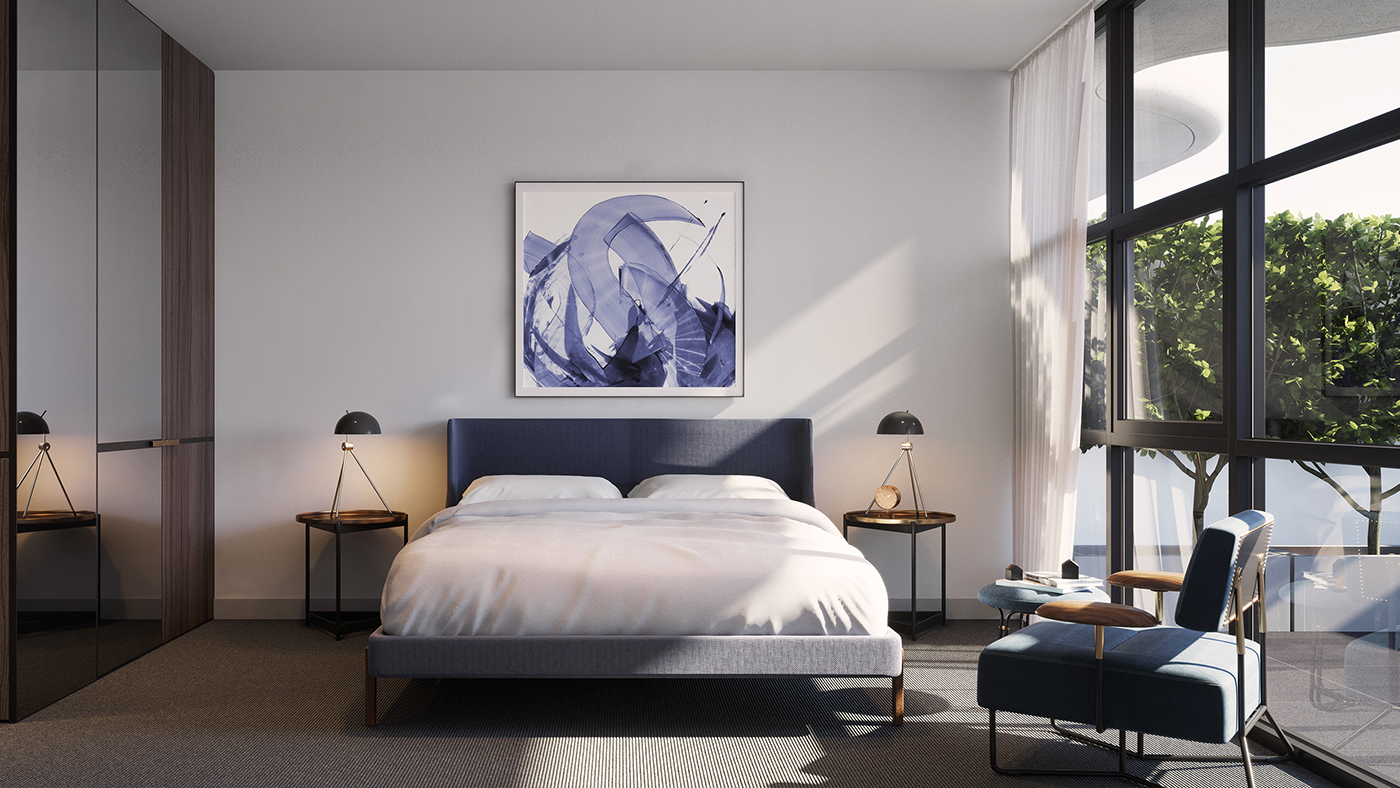 noco apartment development designer bedroom