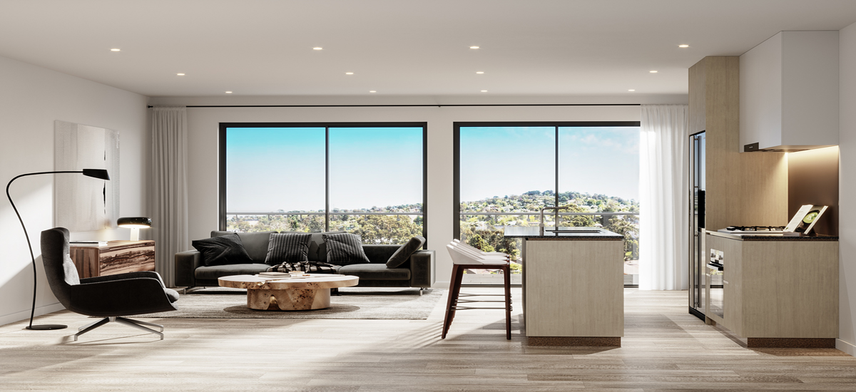 nelson bourke apartment luxury open plan living room kitchen
