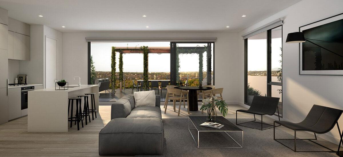 Pace of Carnegie Apartments - open floor living room