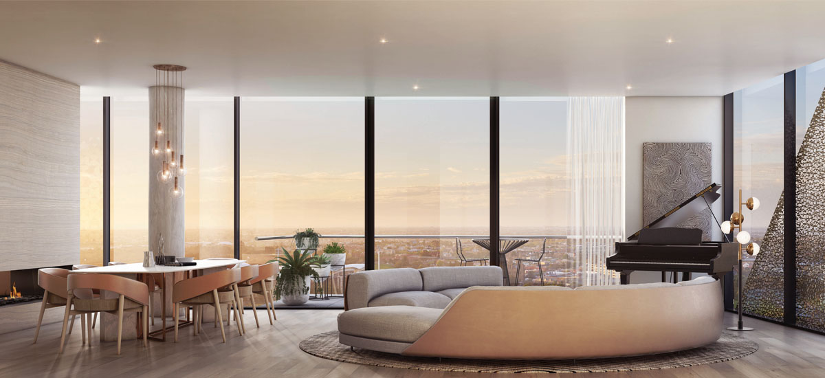 Realm Adelaide penthouse living room