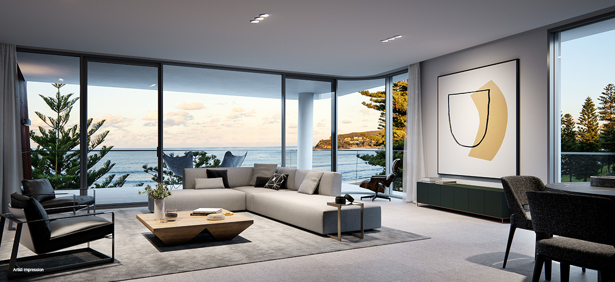 shoreline apartments off the plan manly beach living room views ocean