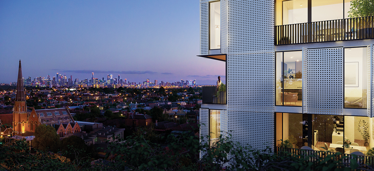 9 Shuter St façade with Melbourne skyline