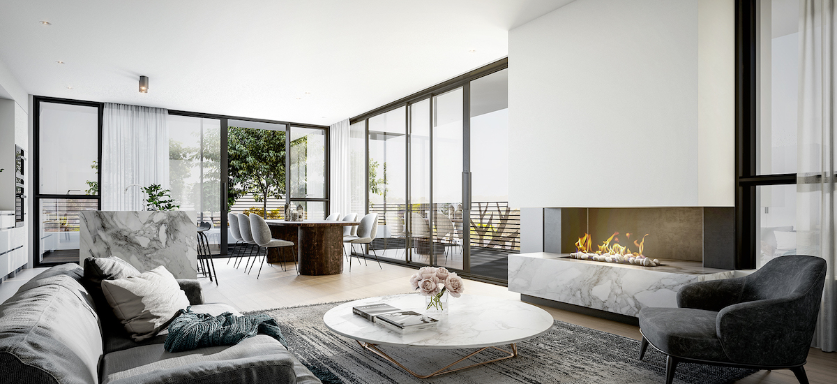 Penthouse living room at Sturt Street apartments