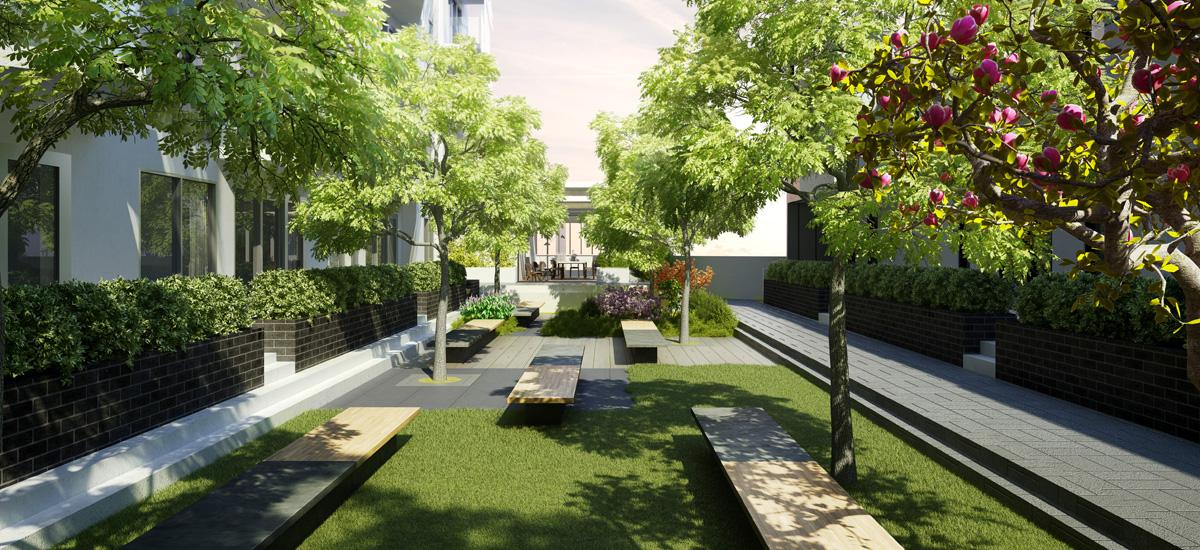 summus apartment development garden courtyard