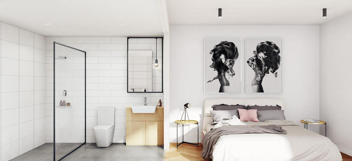 233 east apartment bedroom bathroom