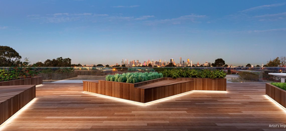 Rooftop with city views at The Eternity Apartments