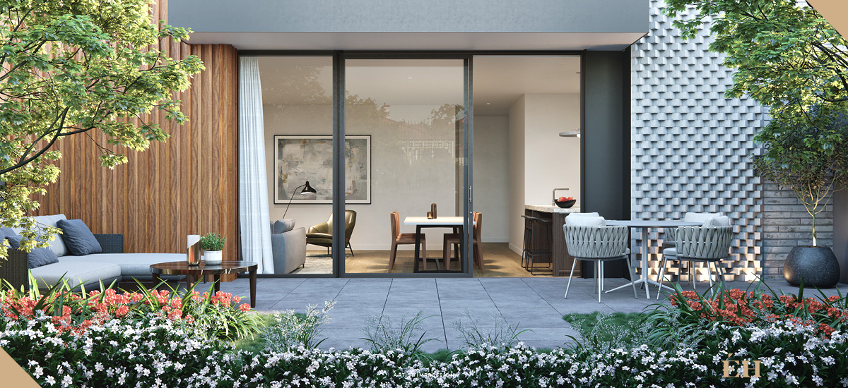 elan apartment private courtyard outdoor terrace melbourne off the plan