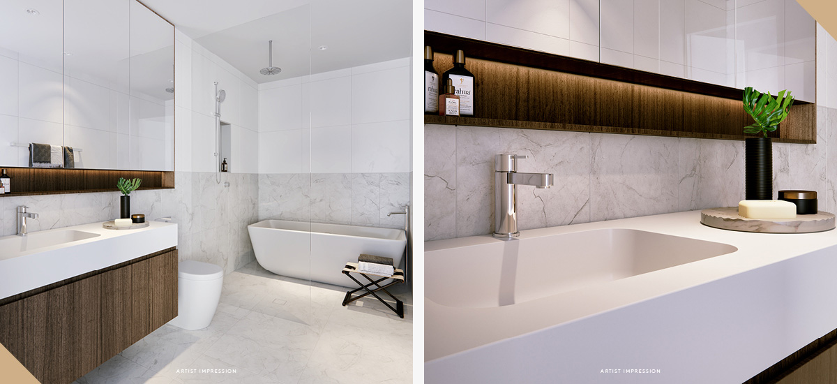 elan apartment bathroom timber cabinets melbourne luxury living