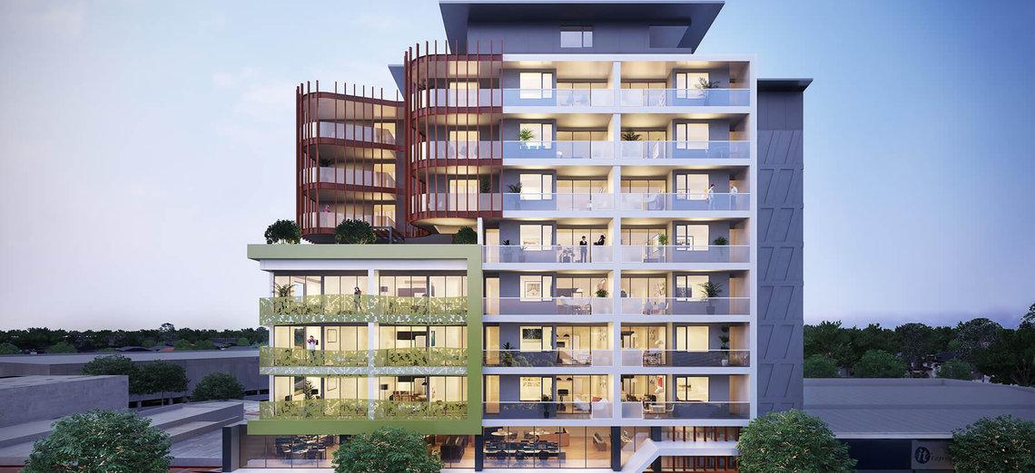 233 east apartment facade colourful building