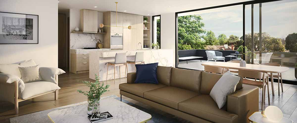 hedgeley house VIC off the plan development living room balcony
